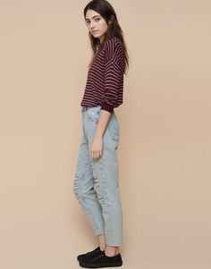 Pull&Bear - mujer - jeans - jeans mom fit rotos y parches - azul clar - 05682326-I2015