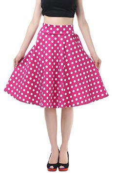 BI.TENCON Vintage Skirt Pink Polka Dot Smock Waist Rockabilly Swing Party Skirt M