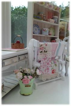 Shabby Washing Rail - by The Shabby Gardener.  Glass Tea Towel, set of 3 $11.00AUD, Green Florentine plate, Blue Room Jubilee plate $4.00AUD each from Carrie Lavender.