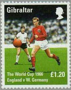 Gibraltar postage stamp showing England v. West Germany in 1966.