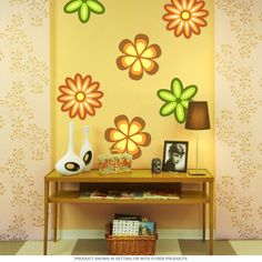 Vintage floral wall decal for a kitchen, living room, or bedroom. Made in the USA. Made of matte polyester fabric, this retro 1970s style wall sticker is easy to apply to most flat surfaces. Available in 12