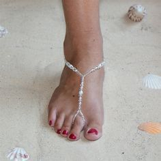 Crystal and White Glass Pearl Foot Jewelry Barefoot Sandal with Beaded Anklet