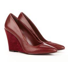Burgundy Wedge Shoes.