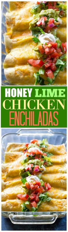 Honey Lime Chicken Enchiladas - my go-to easy Mexican dinner for company that is freezer friendly. the-girl-who-ate-everything.com