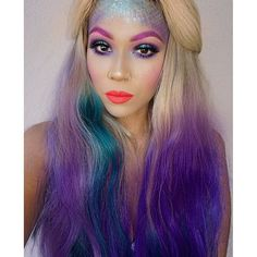 """Prettiest Mermaid we've ever seen our beautiful #bellamibella @keybeauty is all about color this Halloween & is rocking a mix of her @kyliejenner 180g 20"""" #KylieHairKouture #18 #BELLAMIDirtyBlondeTeal Ombre set and 220g 22"""" #18 #BELLAMIDirtyBlondeViolet Ombre set use code keybeauty to save at checkout! #bellamihair #teambellami"""