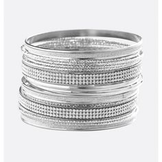 Avenue Stone Glitter Bangle Set (51 BRL) ❤ liked on Polyvore featuring jewelry, bracelets, accessories, silver, plus size, fake jewelry, imitation jewelry, hinged bracelet, glitter jewelry and avenue jewelry