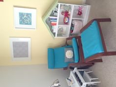 Yellow and gray with pops of teal and pink. Land of Nod dollhouse bookcase. Ikea Dollhouse, Dollhouse Bookcase, Interior Architecture, Interior Design, Teal And Pink, Yellow, Ribba Frame, Playroom