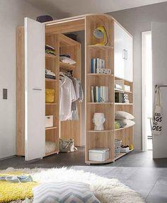 Avanti Trendstore - Eckschrank in Sandeiche Dekor/weiß, ca cm. Bedroom Closet Design, Bedroom Corner, Home Room Design, Wardrobe Design, Closet Designs, Bedroom Storage, Bedroom Decor, House Design, Corner Wardrobe Closet