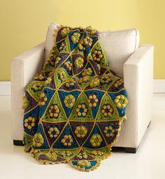 Tweedy Triangles Afghan - Free Crochet Pattern With Website Registration - (lionbrand)