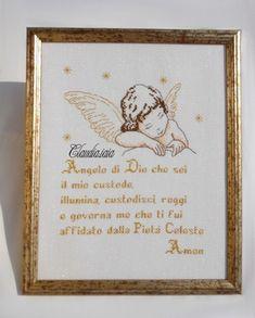 Angioletto con preghiera_incorniciato_1 - della categoria Punto Croce dall'album di Claudia.iaia.