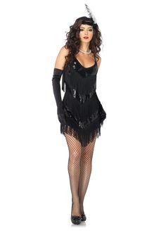 fringe dresses | 2PC.Roaring 20's Honey, sequin shimmy fringe dress, feather headband
