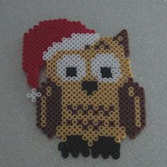 Eulili Christmas - - Decoration - Owls - Cute owl to hang . - Eulili Christmas – – Decoration – Owls – Cute owl to hang… - Pearler Beads, Fuse Beads, Hama Beads Patterns, Beading Patterns, Loom Beading, Fun Arts And Crafts, Diy And Crafts, Christmas Perler Beads, Snowflake Template