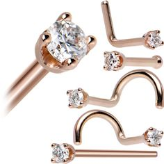 14KT Rose Gold 2mm Cubic Zirconia Nose Ring | Body Candy Body Jewelry