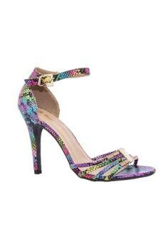 snake halter back heeled sandal multi
