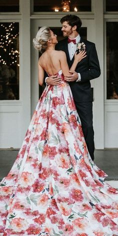 36 Ultra-Pretty Floral Wedding Dresses For Brides ❤ floral wedding dresses a line low back watercolor meagankellydesigns Floral Wedding Gown, Classy Wedding Dress, Pretty Wedding Dresses, Unconventional Wedding Dress, Wedding Dress Shopping, Colored Wedding Dresses, Wedding Bride, Wedding Gowns, Wedding Decor