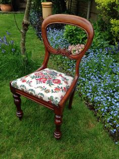 Restored And Reupholstered Victorian Balloon Back Chair.