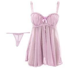 Flyaway Babydoll Set ($17) ❤ liked on Polyvore featuring intimates, sleepwear, nightgowns, lingerie, underwear, pajamas, dresses, baby doll nightgown, babydoll nightgown and baby doll nightie