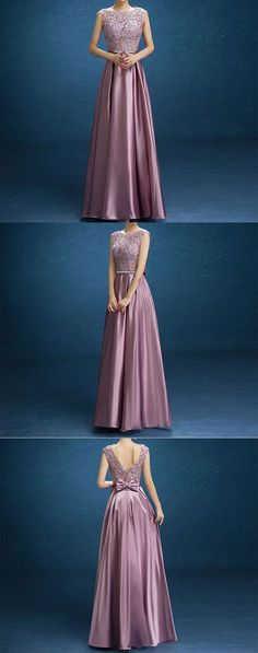 ELEGANT PURPLE LACE SATIN WITH BOW KNOT V-BACK SLEEVELESS A-LINE PROM DRESSES. M0703#prom #promdress #promdresses #longpromdress #promgowns #promgown #2018style #newfashion #newstyles #2018newprom#eveninggowns#purplesatinprom#lace#bowknot#vbackpromdress
