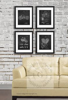 Vintage Harley Davidson Motorcycle posters set by GnosisCollageArt