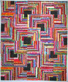 Exuberant Color: Quilts pieced with uneven width strips. This would be great in batiks. Édredons Cabin Log, Log Cabin Quilts, Log Cabins, Scrappy Quilts, Easy Quilts, Dog Quilts, Scrap Quilt Patterns, Colorful Quilts, Bright Quilts