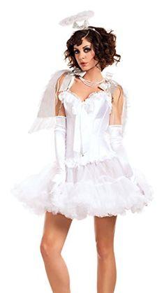 4Pc Angel Babe Includes Ruffled Top Wings Halo Ruffled Skirt Halloween Women