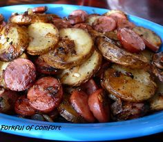 Sausage & Potatoes ~ quick skillet meal. My mom used to make this growing up. So good!