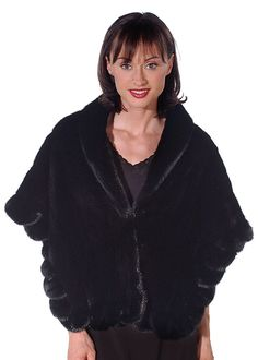 A mink cape that will capture your heart! This rich, black mink cape is an exquisite creation that has a clean modern shape with the feminine flair of a Winter Poncho, Mink Stole, Poncho Coat, Shops, Fur Cape, Mink Fur, Ranch, Feminine, Gowns