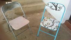 Antes y despues de unas sillas plegables de metal