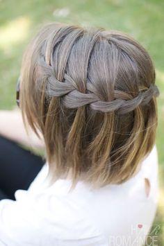 Ideia de penteado, penteado para cabelo curto, trança cachoeira, waterfall braid