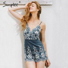 c2aa8e8fbde Simplee Embroidery v neck summer jumpsuit romper Strap elegant jumpsuit  women floral playsuit 2017 sexy zipper short overalls