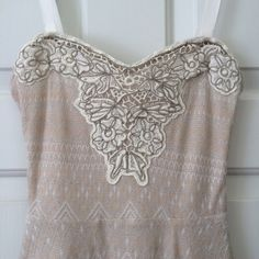 Free People Twinkle & Twirl Dress ✨Never Been Worn✨ Beautiful pink-beige dress with silver metallic pattern and tulle skirt underneath and beading at top.  Straps are removable. Free People Dresses Strapless