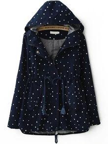 Hooded Stars Print Navy Coat
