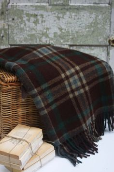 Vintage Blue Plaid Wool Blanket by SouthernGilt on Etsy, $38.00