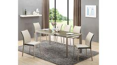 ARABIS - egy modern étkezőasztal, edzett üveg asztallappal, porszórt acél vázzal. Az étkezőasztal bővíthető, mérete: 122÷182/80/76 cm. Az asztal a fotón K182 székekkel látható, melyek nem tartoznak az asztalhoz, de webshopunkban külön