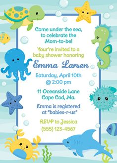 Under The Sea Shower Invitation  Boy by AnchorBlueDesign on Etsy, $12.00