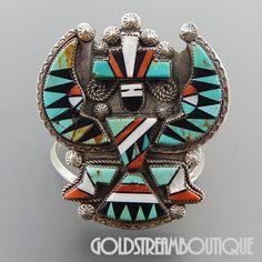 Native American Ben Livingston Zuni 925 Silver Gemstone Mosaic Inlay Knifewing Cuff Bracelet