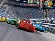 Lightning McQueen is tearing up the track in this amazingly colorful Disney Cars wall mural! Maserati, Bugatti, Lamborghini, Sport Cars, Race Cars, Disney Cars Wallpaper, Cars 2006, Audi, Cars Birthday Parties