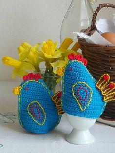 Häkeln Sie Küken Ei Cozies - Henne-Ei-gemütlich - blauer Vogel-Ei-gemütlich - Küken Ei Stövchen - Set 2 Cozies - Huhn Ei Cozies - Weihnachtsgeschenk für Sie