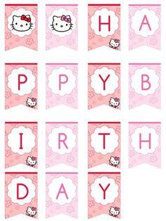 Hello Kitty Happy Birthday Banner by printabletreats Hallo Kitty Happy Birthday Banner von printable Kitty Party, Hello Kitty Theme Party, Hello Kitty Themes, Happy Birthday Banner Printable, Birthday Banner Template, Printable Banner, Happy Birthday Banners, Anniversaire Hello Kitty, Creations