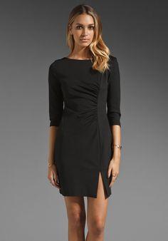 TRINA TURK Solid Ponte Snow Bunny Long Sleeve Dress in Black