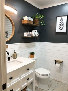 This is our bathroom makeover with dark walls and shiplap Upstairs Bathrooms, Downstairs Bathroom, Bathroom Renos, Laundry In Bathroom, Teen Bathroom Decor, Shiplap Bathroom Wall, Bathroom Wall Colors, Bathroom No Window, Bathroom Wall Ideas