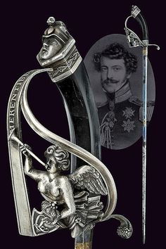 A rare silver mounted presentation sword with monogram of Charles II, Duke of Parma, ca 19th century.