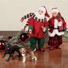 Going for a Walk Clothtique Santas and Dogs Figurine Set