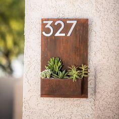 Modern Metal Address Planter Gives Curb Appeal / Metal Address