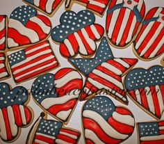 Patriotic Theme American Flag Sugar Cookies with Royal Icing. Palmbeachpastry.com