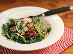 Strawberry, kale and toasted almond Caesar salad recipe {The Perfect Pantry}