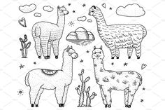 Set of cute Alpaca Llamas or wild guanaco on the background of Cactus and mountain. Funny smiling animals in Peru for cards, posters, invitations, t-shirts. Hand drawn Elements. Engraved sketch. by ArtBalitskiy on @creativemarket