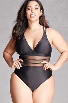0de3e0e7763 Forever 21+ - This stretch knit one-piece swimsuit features a V-neckline