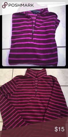 Land's End Fleece BNWT. Purple striped fleece. Lands' End Tops Sweatshirts & Hoodies
