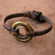 Antique African Ring Bracelet - Solid Brass and Bronze Ring and Woven Linen